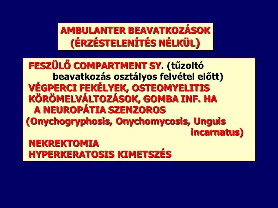 AMBULANTER BEAVATKOZÁSOK (ÉRZÉSTELENÍTÉS NÉLKÜL ) AMBULANTER BEAVATKOZÁSOK (ÉRZÉSTELENÍTÉS NÉLKÜL ) FESZÜLŐ COMPARTMENT SY.