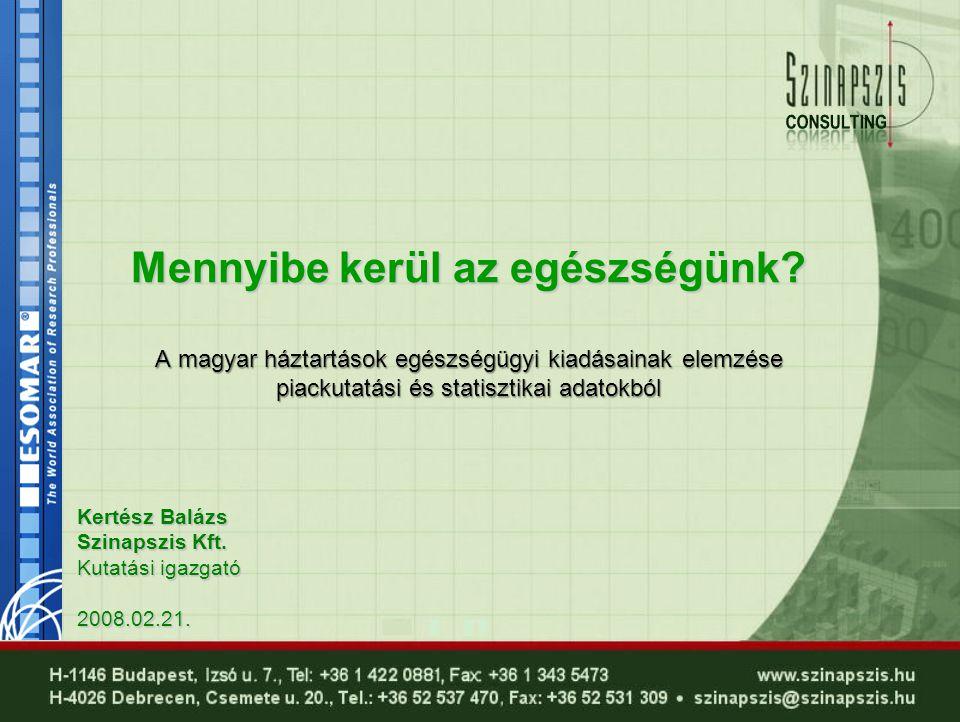 Kertész Balázs Szinapszis Kft. Kutatási igazgató 2008.02.21. Mennyibe kerül az egészségünk? A magyar háztartások egészségügyi kiadásainak elemzése pia