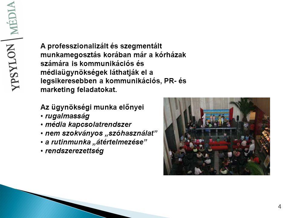 4 A professzionalizált és szegmentált munkamegosztás korában már a kórházak számára is kommunikációs és médiaügynökségek láthatják el a legsikeresebbe