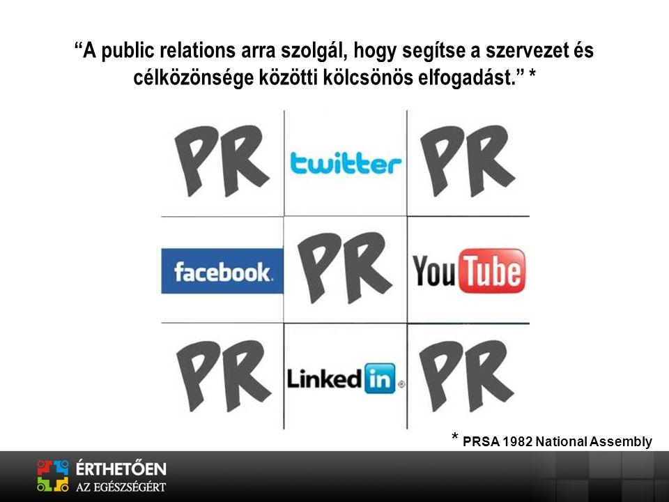 """""""A public relations arra szolgál, hogy segítse a szervezet és célközönsége közötti kölcsönös elfogadást."""" * * PRSA 1982 National Assembly"""