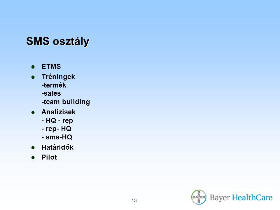 13 SMS osztály ETMS Tréningek -termék -sales -team building Analízisek - HQ - rep - rep- HQ - sms-HQ Határidők Pilot