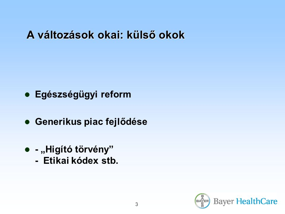"""3 A változások okai: külső okok Egészségügyi reform Generikus piac fejlődése - """"Higító törvény - Etikai kódex stb."""