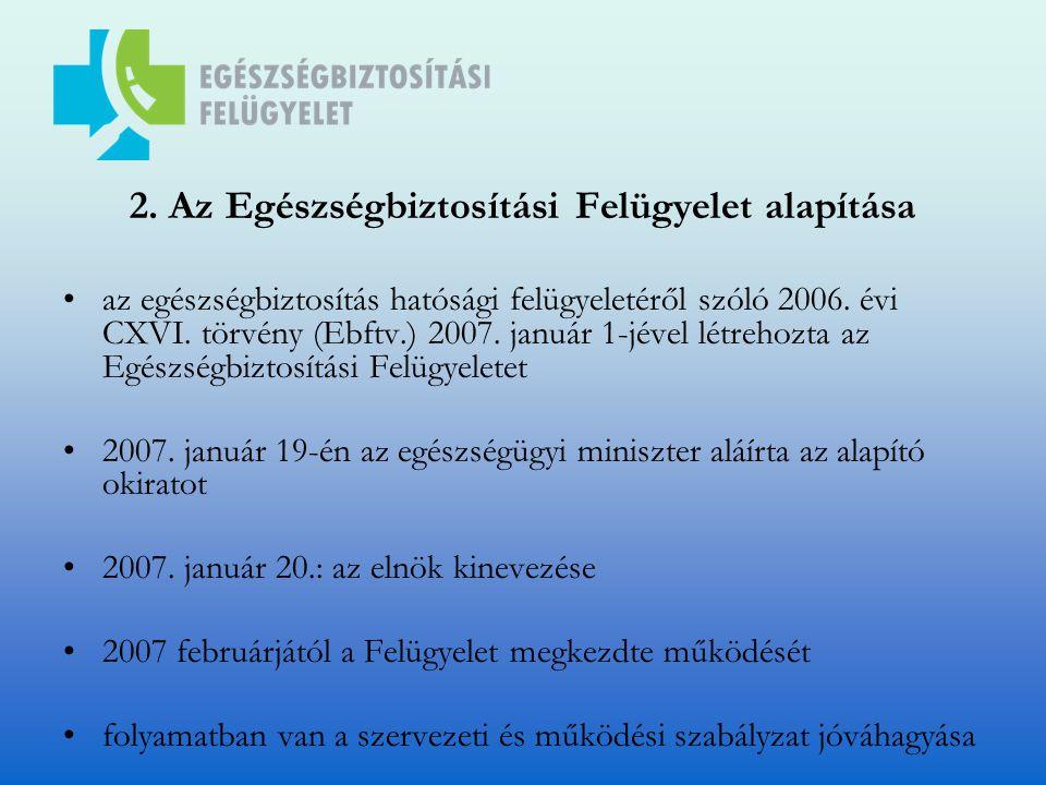 2. Az Egészségbiztosítási Felügyelet alapítása az egészségbiztosítás hatósági felügyeletéről szóló 2006. évi CXVI. törvény (Ebftv.) 2007. január 1-jév