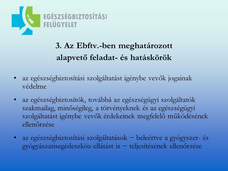 3. Az Ebftv.-ben meghatározott alapvető feladat- és hatáskörök az egészségbiztosítási szolgáltatást igénybe vevők jogainak védelme az egészségbiztosít