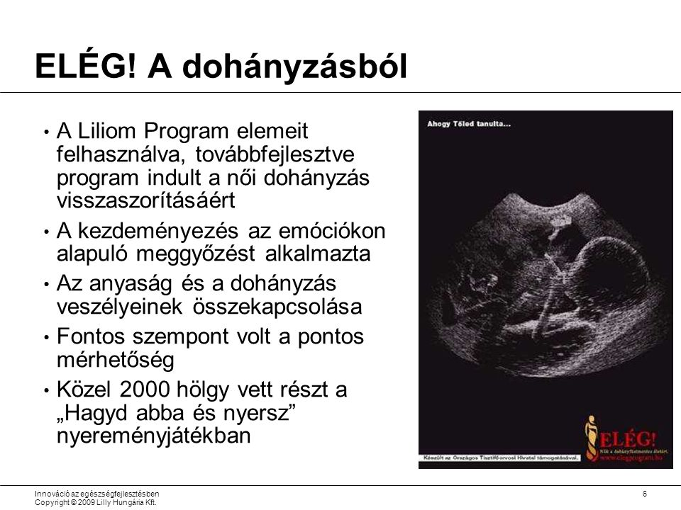 Innováció az egészségfejlesztésben Copyright © 2009 Lilly Hungária Kft.