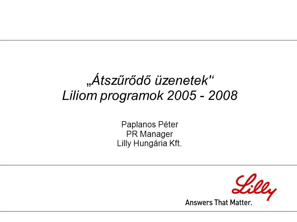 """"""" Átszűrődő üzenetek'' Liliom programok 2005 - 2008 Paplanos Péter PR Manager Lilly Hungária Kft."""