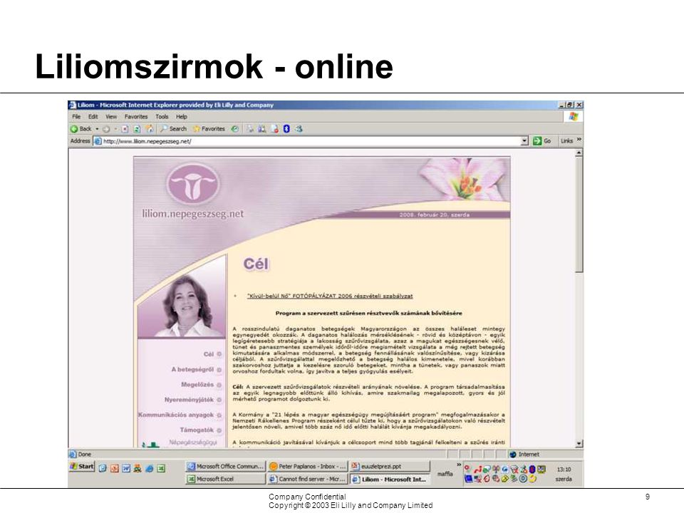 Company Confidential Copyright © 2003 Eli Lilly and Company Limited 9 Liliomszirmok - online Online: