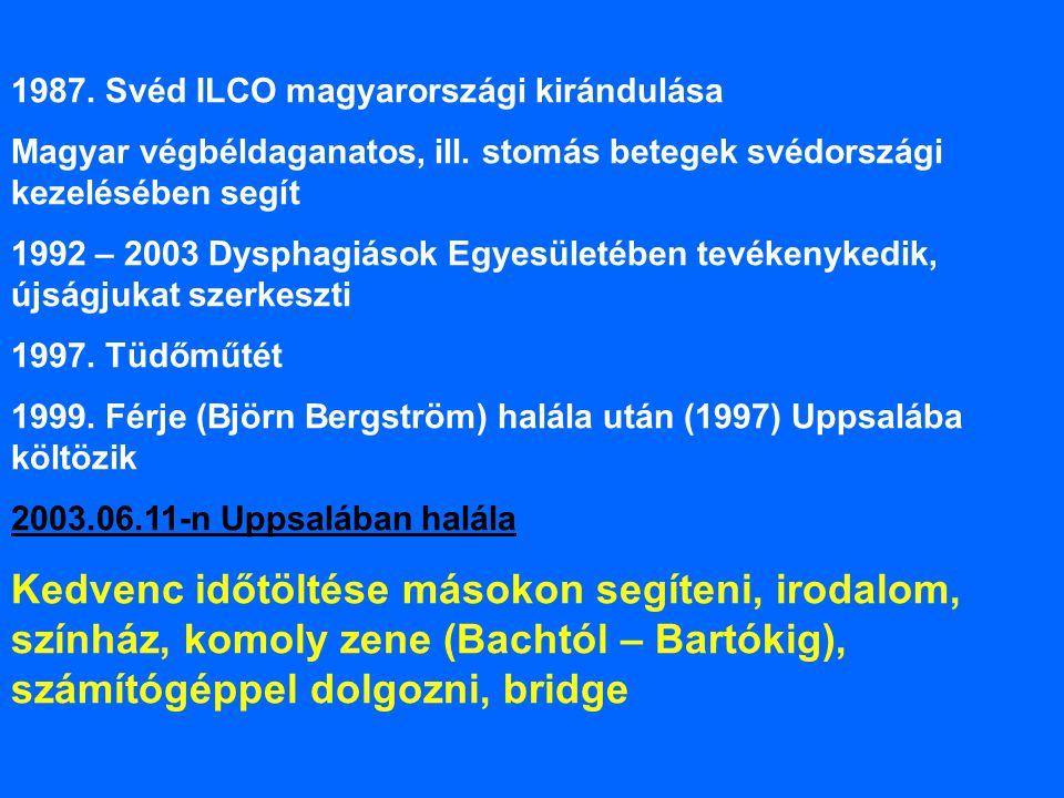 1987. Svéd ILCO magyarországi kirándulása Magyar végbéldaganatos, ill. stomás betegek svédországi kezelésében segít 1992 – 2003 Dysphagiások Egyesület
