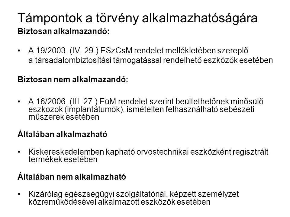 16/2006.(III. 27.) EüM rendelet 1. sz melléklet követelményei 13.