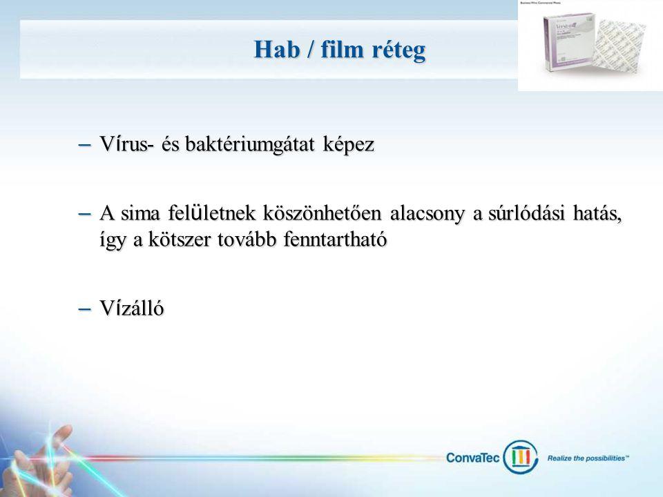 Hab / film réteg – V í rus- és baktériumgátat képez – A sima fel ü letnek köszönhetően alacsony a súrlódási hatás, így a kötszer tovább fenntartható –