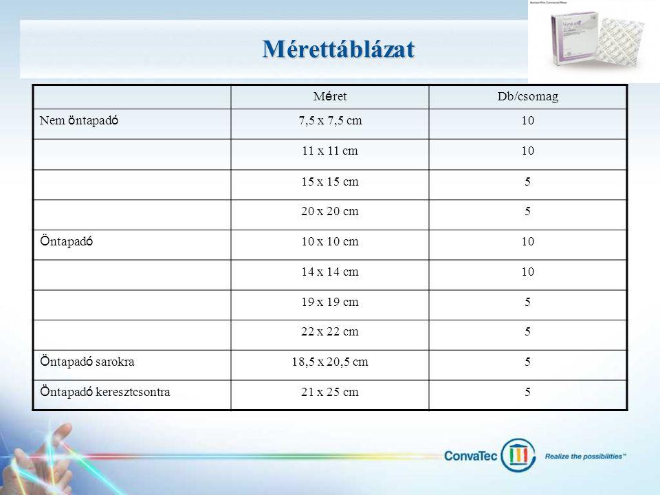 Mérettáblázat M é ret Db/csomag Nem ö ntapad ó 7,5 x 7,5 cm10 11 x 11 cm10 15 x 15 cm5 20 x 20 cm5 Ö ntapad ó 10 x 10 cm10 14 x 14 cm10 19 x 19 cm5 22