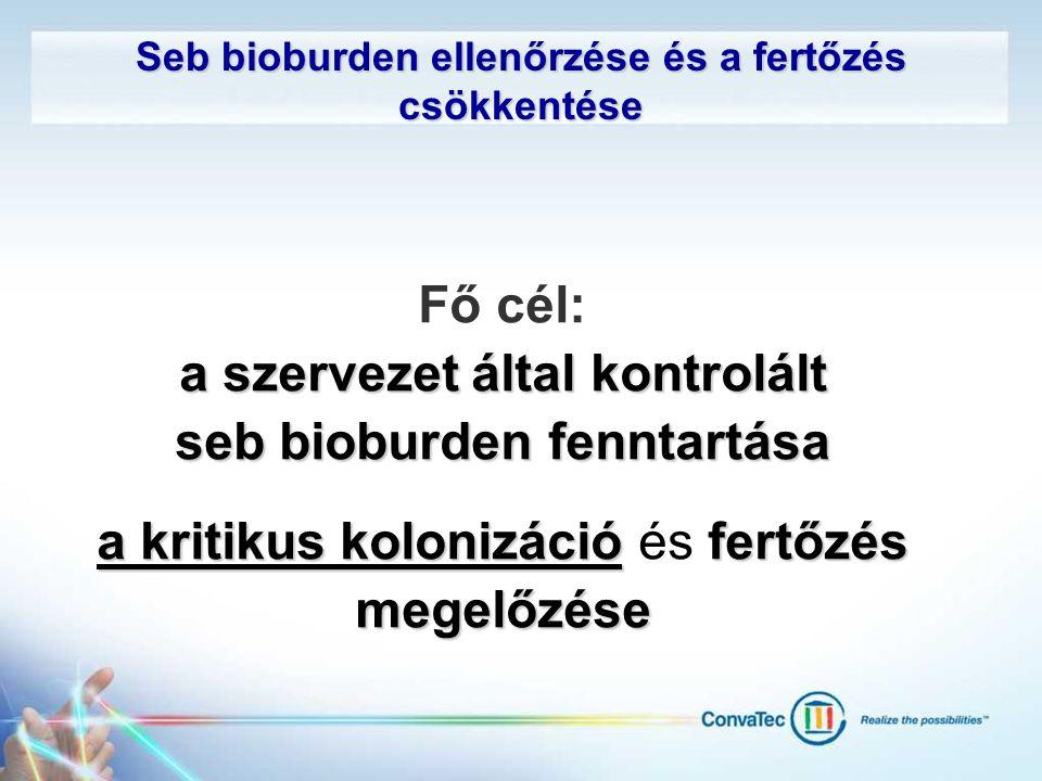 Seb bioburden ellenőrzése és a fertőzés csökkentése Fő cél: a szervezet által kontrolált seb bioburden fenntartása a kritikus kolonizációfertőzés mege