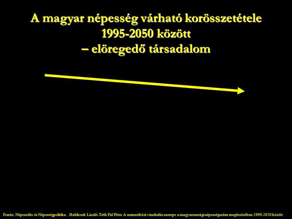A magyar népesség várható korösszetétele 1995-2050 között – elöregedő társadalom Forrás: Népesedés és Népességpolitika.