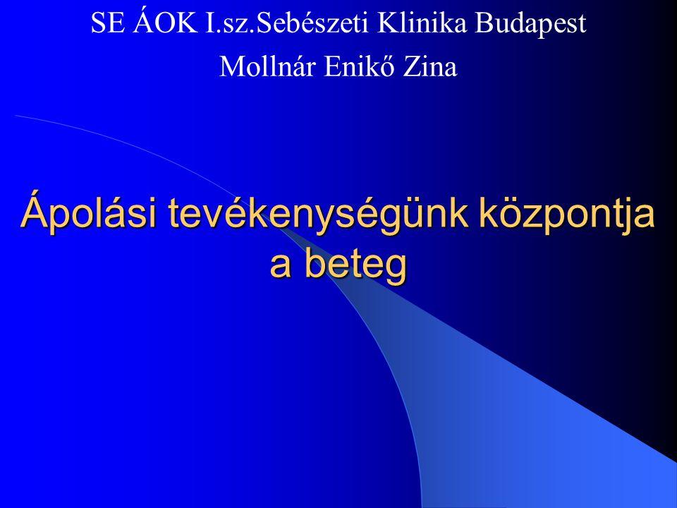 Ápolási tevékenységünk központja a beteg SE ÁOK I.sz.Sebészeti Klinika Budapest Mollnár Enikő Zina