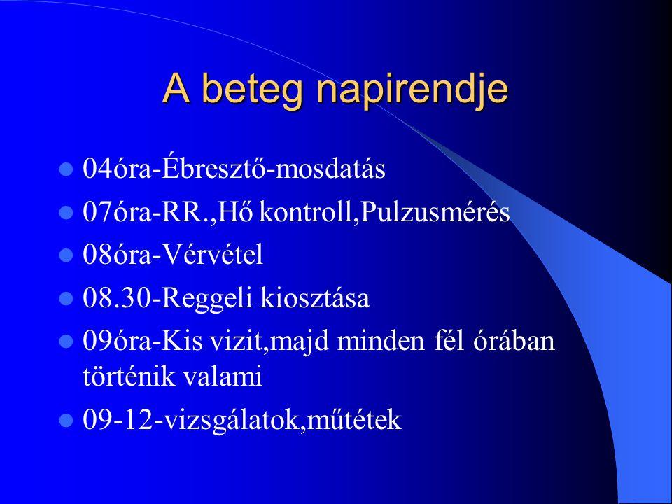 A beteg napirendje 12óra-Ebéd 12-17-Beavatkozások 17óra-Vacsora osztás 18óra-Esti vizit 19óra-Osztályátadás 22óra-Gyógyszerosztás, villanyoltás