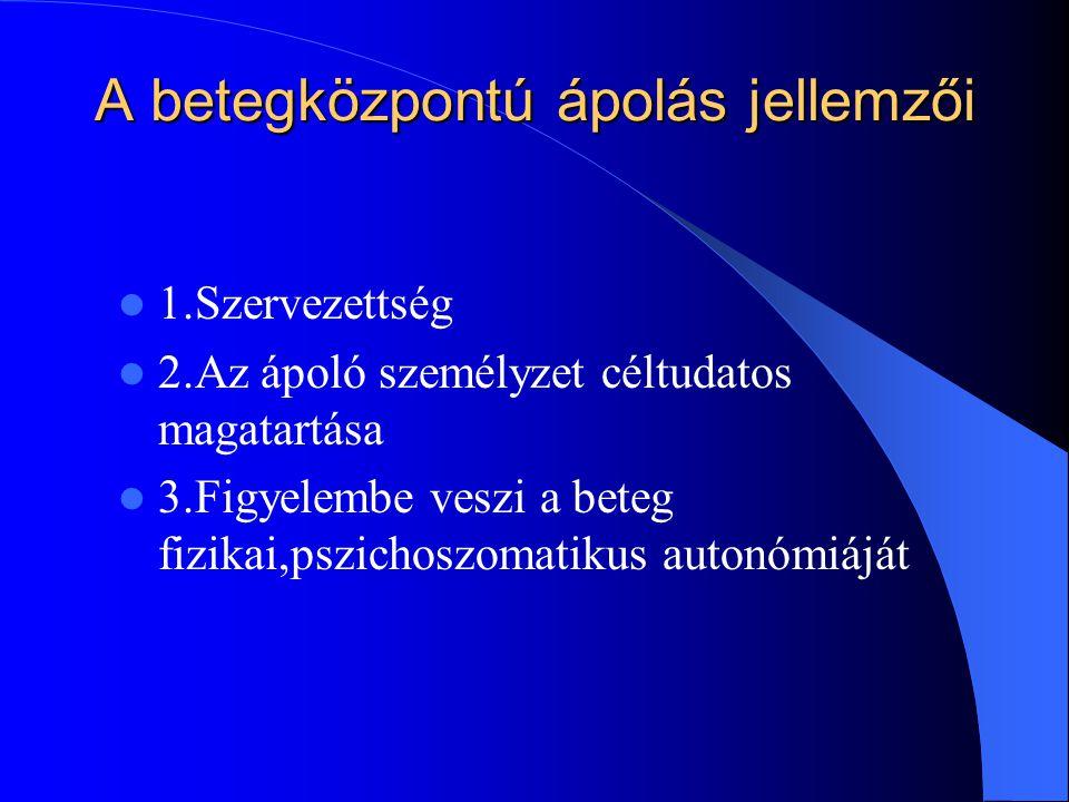 A betegközpontú ápolás jellemzői 1.Szervezettség 2.Az ápoló személyzet céltudatos magatartása 3.Figyelembe veszi a beteg fizikai,pszichoszomatikus autonómiáját