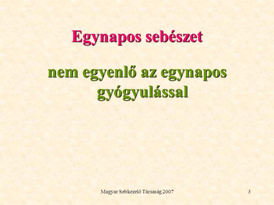 Magyar Sebkezelő Társaság 20073 Egynapos sebészet nem egyenlő az egynapos gyógyulással
