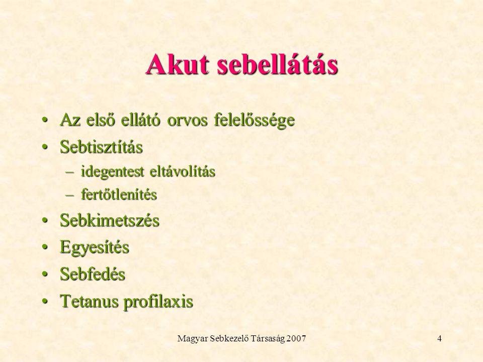 Magyar Sebkezelő Társaság 20075 Akut sebek szekunder kezelése A seb állapotának ellenőrzéseA seb állapotának ellenőrzése KötéscsereKötéscsere Varrat eltávolításVarrat eltávolítás Esetleges műtéti sebszövődmények elhárítása (seroma, haematoma)Esetleges műtéti sebszövődmények elhárítása (seroma, haematoma) Gyógyulási folyamat követéseGyógyulási folyamat követése