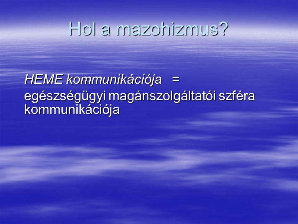 Hol a mazohizmus? HEME kommunikációja = egészségügyi magánszolgáltatói szféra kommunikációja