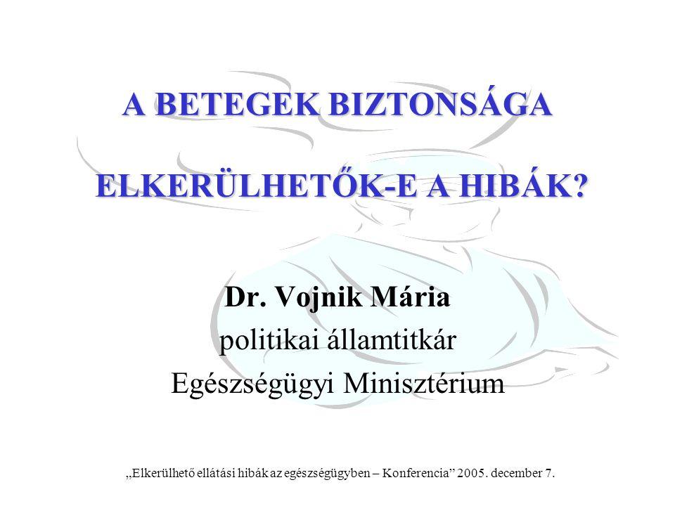 """""""Elkerülhető ellátási hibák az egészségügyben – Konferencia"""" 2005. december 7. A BETEGEK BIZTONSÁGA ELKERÜLHETŐK-E A HIBÁK? Dr. Vojnik Mária politikai"""