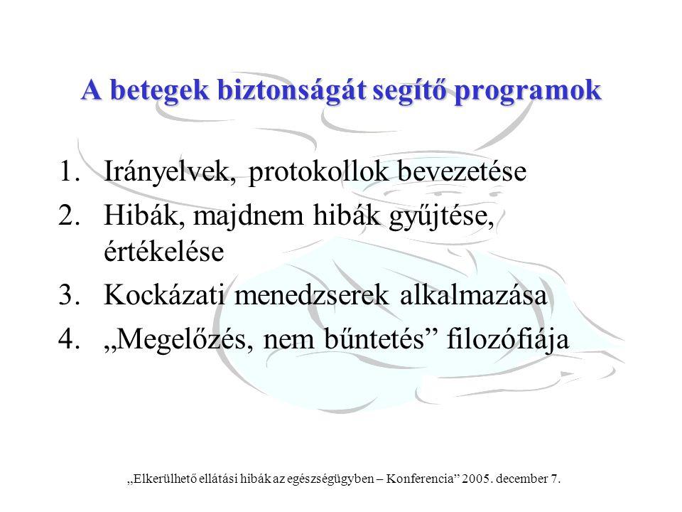 """""""Elkerülhető ellátási hibák az egészségügyben – Konferencia"""" 2005. december 7. A betegek biztonságát segítő programok 1.Irányelvek, protokollok beveze"""