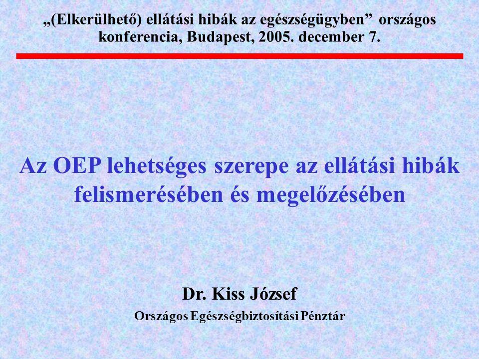 """Az OEP lehetséges szerepe az ellátási hibák felismerésében és megelőzésében """"(Elkerülhető) ellátási hibák az egészségügyben országos konferencia, Budapest, 2005."""