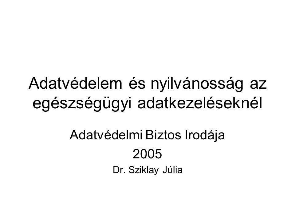 Adatvédelem és nyilvánosság az egészségügyi adatkezeléseknél Adatvédelmi Biztos Irodája 2005 Dr.