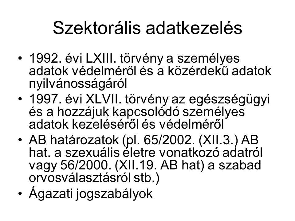 Szektorális adatkezelés 1992. évi LXIII.