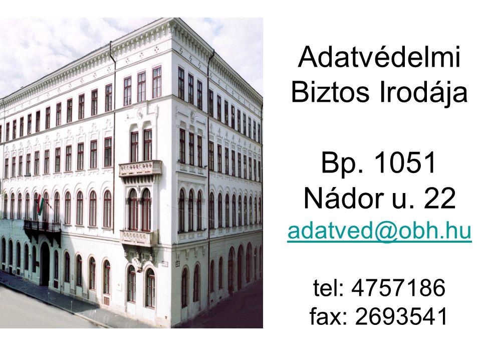 Adatvédelmi Biztos Irodája Bp. 1051 Nádor u.