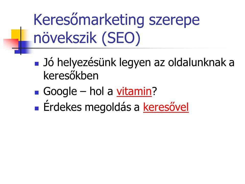 Keresőmarketing szerepe növekszik (SEO) Jó helyezésünk legyen az oldalunknak a keresőkben Google – hol a vitamin?vitamin Érdekes megoldás a keresővelkeresővel
