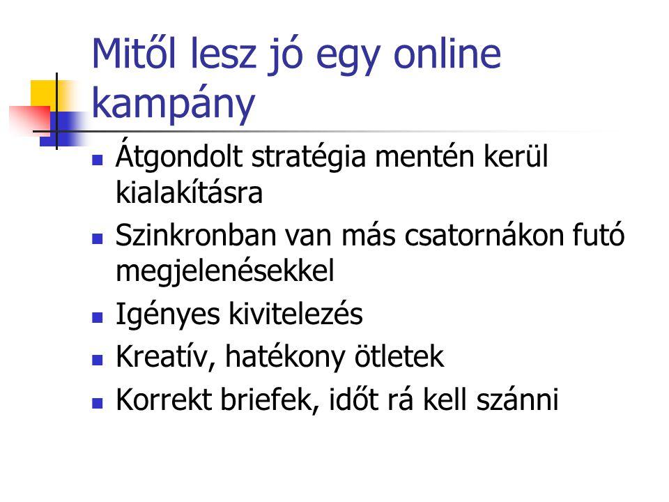 Mitől lesz jó egy online kampány Átgondolt stratégia mentén kerül kialakításra Szinkronban van más csatornákon futó megjelenésekkel Igényes kivitelezé