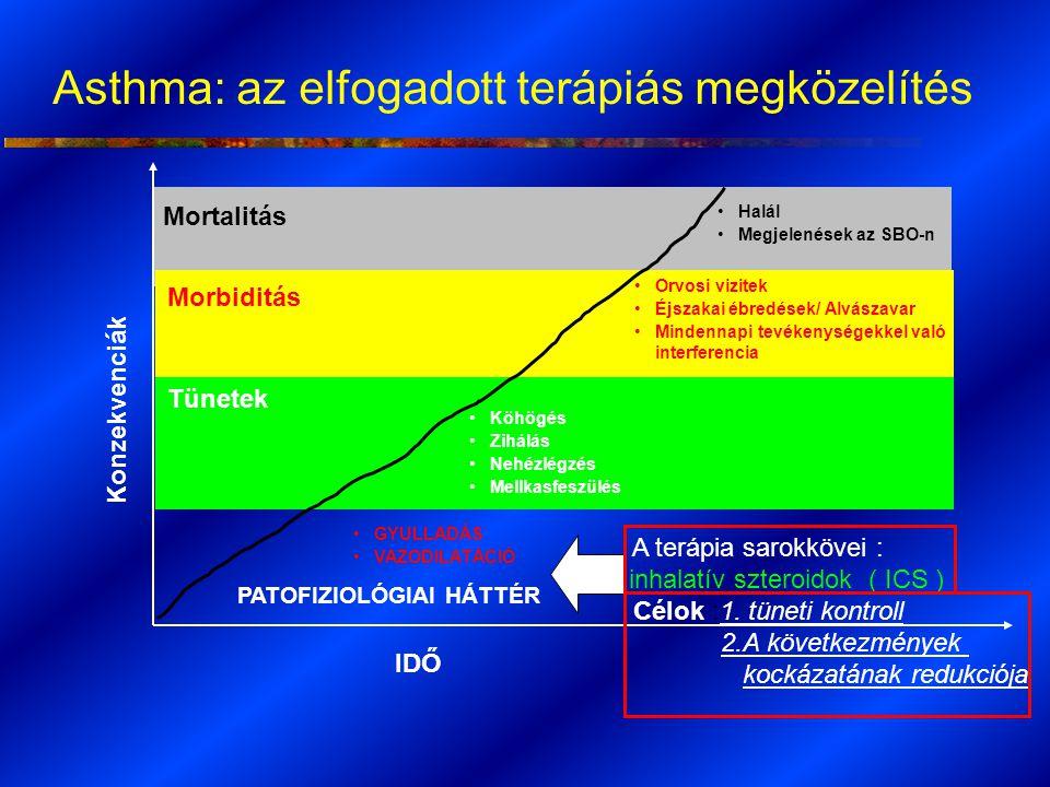 A terápia sarokkövei : inhalatív szteroidok ( ICS ) Célok :1. tüneti kontroll 2.A következmények kockázatának redukciója PATOFIZIOLÓGIAI HÁTTÉR Asthma
