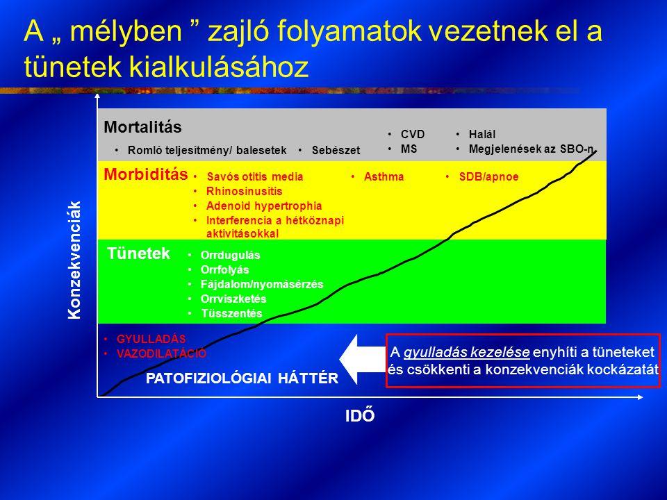"""A """" mélyben zajló folyamatok vezetnek el a tünetek kialkulásához IDŐ Konzekvenciák Halál Megjelenések az SBO-n Mortalitás Tünetek Morbiditás Savós otitis media Rhinosinusitis Adenoid hypertrophia Interferencia a hétköznapi aktivitásokkal Orrdugulás Orrfolyás Fájdalom/nyomásérzés Orrviszketés Tüsszentés Romló teljesítmény/ balesetekSebészet CVD MS AsthmaSDB/apnoe GYULLADÁS VAZODILATÁCIÓ PATOFIZIOLÓGIAI HÁTTÉR"""