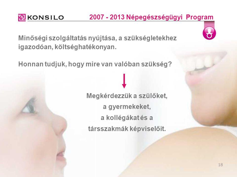 18 2007 - 2013 Népegészségügyi Program Minőségi szolgáltatás nyújtása, a szükségletekhez igazodóan, költséghatékonyan. Honnan tudjuk, hogy mire van va