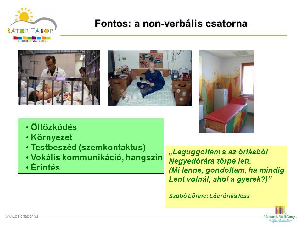 """Fontos: a non-verbális csatorna www.batortabor.hu Öltözködés Környezet Testbeszéd (szemkontaktus) Vokális kommunikáció, hangszín Érintés """"Leguggoltam"""