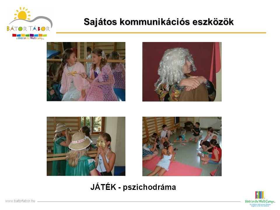 Sajátos kommunikációs eszközök www.batortabor.hu JÁTÉK - pszichodráma