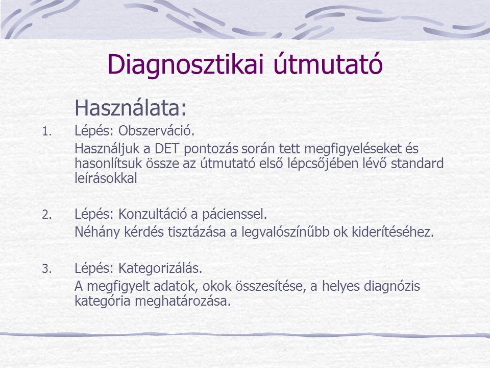Diagnosztikai útmutató Használata: 1. Lépés: Obszerváció. Használjuk a DET pontozás során tett megfigyeléseket és hasonlítsuk össze az útmutató első l