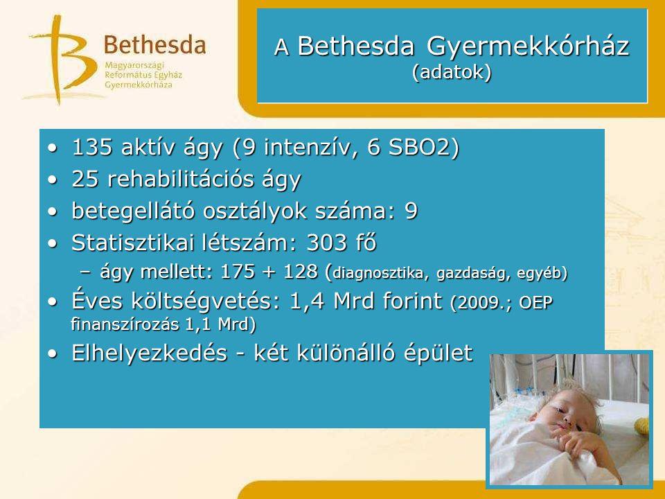 A Bethesda Gyermekkórház (adatok) 135 aktív ágy (9 intenzív, 6 SBO2)135 aktív ágy (9 intenzív, 6 SBO2) 25 rehabilitációs ágy25 rehabilitációs ágy betegellátó osztályok száma: 9betegellátó osztályok száma: 9 Statisztikai létszám: 303 főStatisztikai létszám: 303 fő –ágy mellett: 175 + 128 ( diagnosztika, gazdaság, egyéb) Éves költségvetés: 1,4 Mrd forint (2009.; OEP finanszírozás 1,1 Mrd)Éves költségvetés: 1,4 Mrd forint (2009.; OEP finanszírozás 1,1 Mrd) Elhelyezkedés - két különálló épületElhelyezkedés - két különálló épület