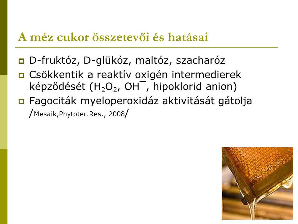 A méz cukor összetevői és hatásai  D-fruktóz, D-glükóz, maltóz, szacharóz  Csökkentik a reaktív oxigén intermedierek képződését (H 2 O 2, OH¯, hipok