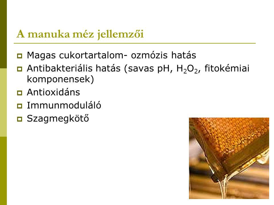 A manuka méz jellemzői  Magas cukortartalom- ozmózis hatás  Antibakteriális hatás (savas pH, H 2 O 2, fitokémiai komponensek)  Antioxidáns  Immunm