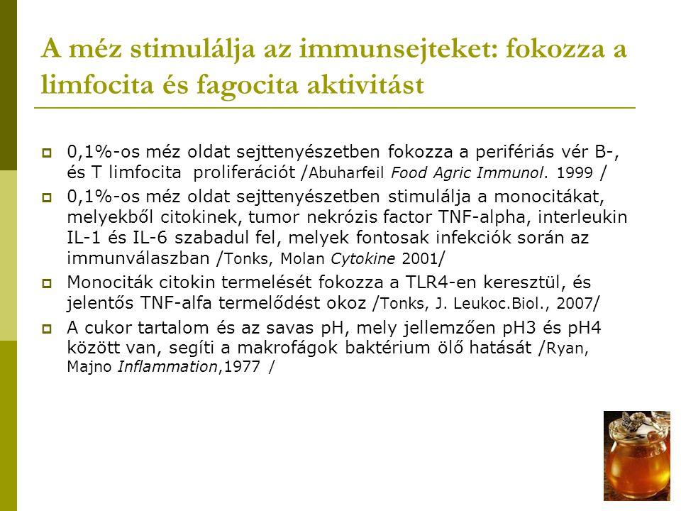 A méz antioxidáns hatású  Csökkentik a reaktiv oxigén intermedierek képződését (H 2 O 2, OH¯)  Fagociták myeloperoxidáz aktivitását gátolja / Mesaik,Phytoter.Res., 2008 /  Cumoperoxil (CUOOH)-val előkezelt endothel sejteken méz hatására jelentősen csökkent a szabadgyök sejtkárosító hatása (megvédte a sejteket a membrán károsodástól, intracellularis ROS képződéstől / Beretta, Planta med.