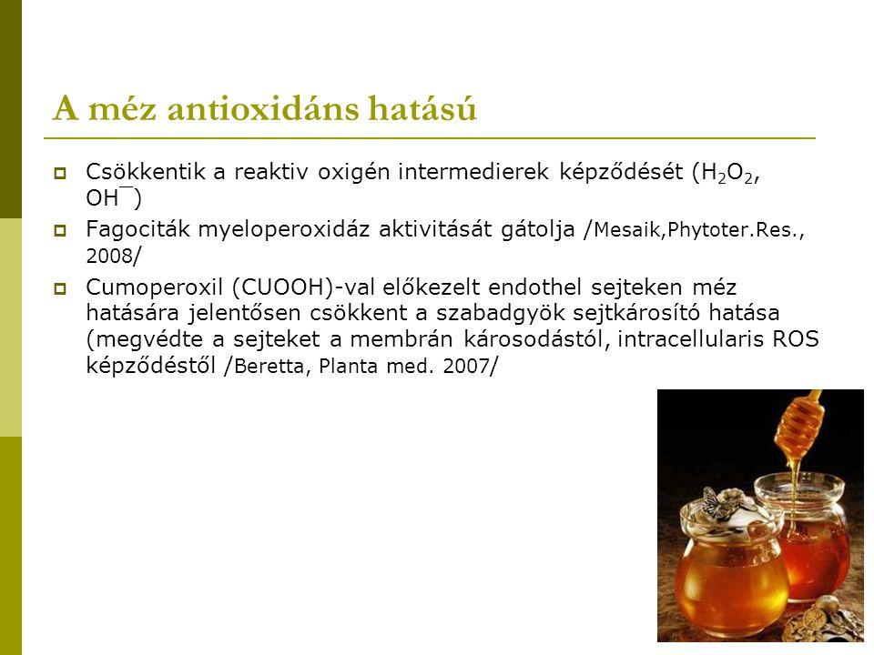 A méz cukor összetevői és hatásai  D-fruktóz, D-glükóz, maltóz, szacharóz  Csökkentik a reaktív oxigén intermedierek képződését (H 2 O 2, OH¯, hipoklorid anion)  Fagociták myeloperoxidáz aktivitását gátolja / Mesaik,Phytoter.Res., 2008 /