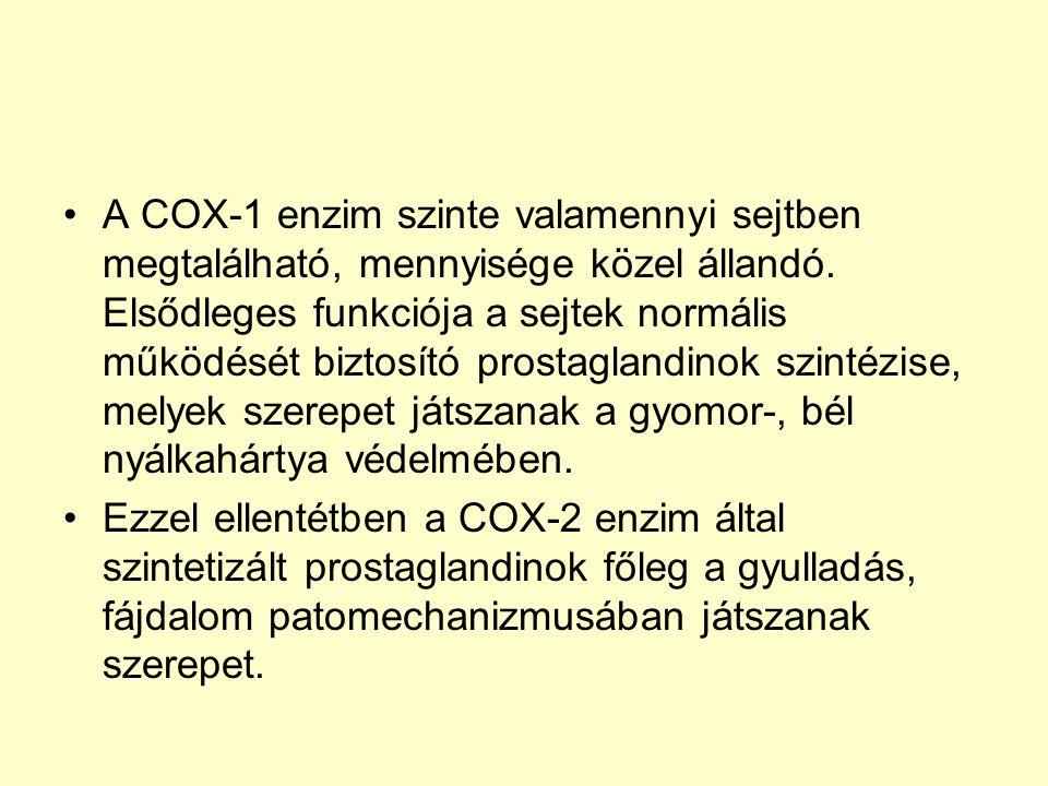 A COX-1 enzim szinte valamennyi sejtben megtalálható, mennyisége közel állandó. Elsődleges funkciója a sejtek normális működését biztosító prostagland
