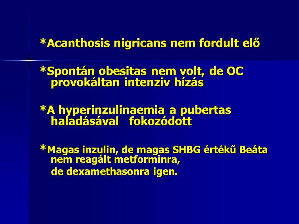 *Acanthosis nigricans nem fordult elő *Spontán obesitas nem volt, de OC provokáltan intenziv hízás *A hyperinzulinaemia a pubertas haladásával fokozód