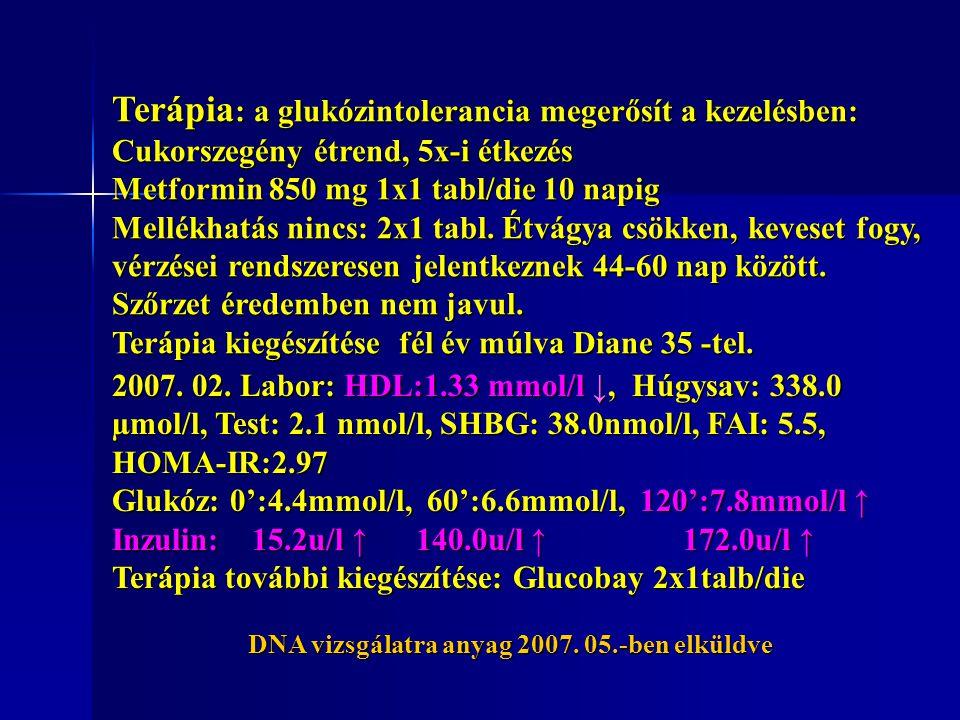 Terápia : a glukózintolerancia megerősít a kezelésben: Cukorszegény étrend, 5x-i étkezés Metformin 850 mg 1x1 tabl/die 10 napig Mellékhatás nincs: 2x1