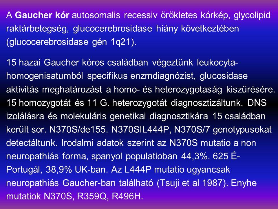 A Gaucher kór autosomalis recessiv örökletes kórkép, glycolipid raktárbetegség, glucocerebrosidase hiány következtében (glucocerebrosidase gén 1q21).