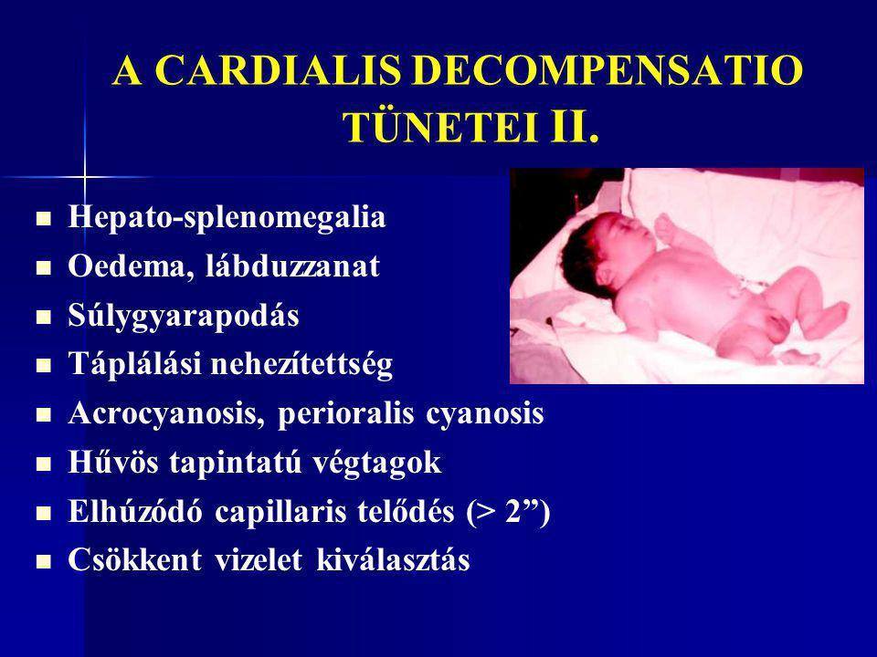 A CARDIALIS DECOMPENSATIO TÜNETEI II. Hepato-splenomegalia Oedema, lábduzzanat Súlygyarapodás Táplálási nehezítettség Acrocyanosis, perioralis cyanosi