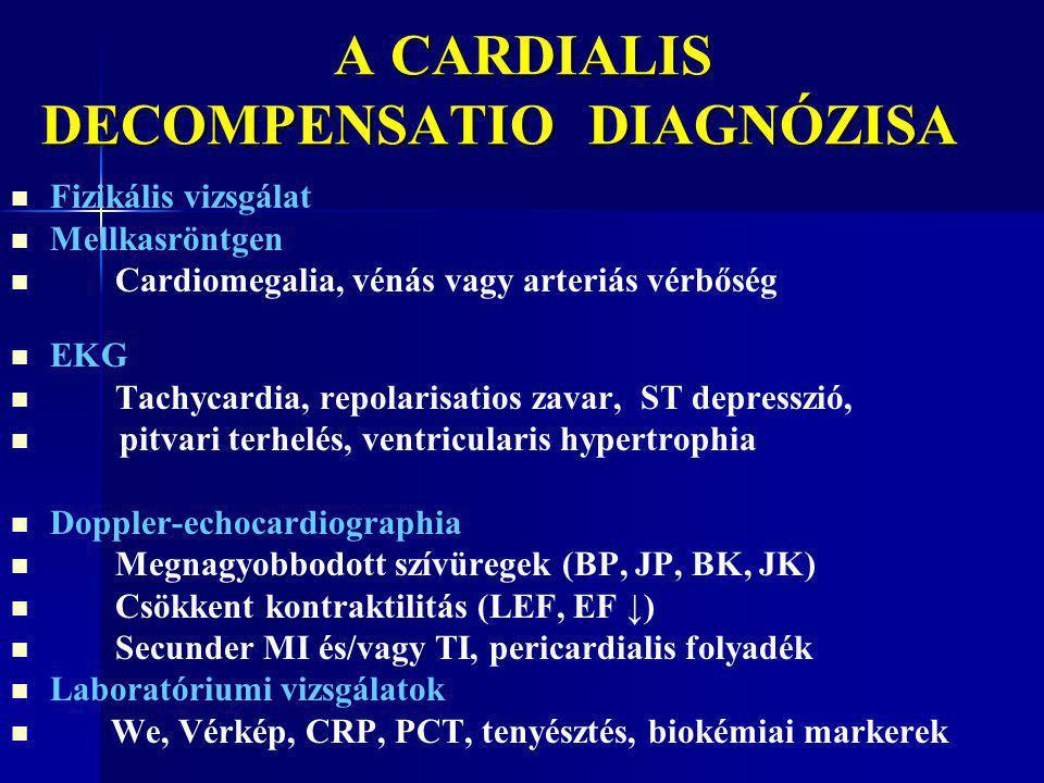 A CARDIALIS DECOMPENSATIO DIAGNÓZISA A CARDIALIS DECOMPENSATIO DIAGNÓZISA Fizikális vizsgálat Mellkasröntgen Cardiomegalia, vénás vagy arteriás vérbős