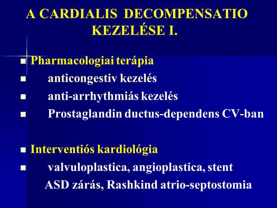 A CARDIALIS DECOMPENSATIO KEZELÉSE I. Pharmacologiai terápia anticongestiv kezelés anti-arrhythmiás kezelés Prostaglandin ductus-dependens CV-ban Inte
