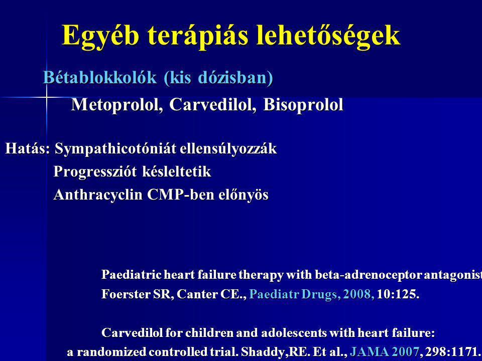Egyéb terápiás lehetőségek Bétablokkolók (kis dózisban) Bétablokkolók (kis dózisban) Metoprolol, Carvedilol, Bisoprolol Metoprolol, Carvedilol, Bisopr